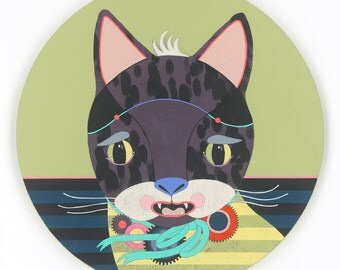 Scaredy Cat - original round fine art kitty painting