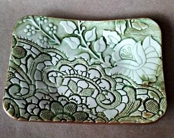 Ceramic Trinket Dish  soap dish jewelry dish Moss Green edged in gold