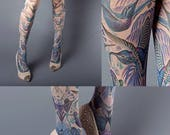 ON SALE/// Exotic Birds Closed Toe nude color one size full length printed tights, pantyhose, nylons, tattoo socks, tattoo tights