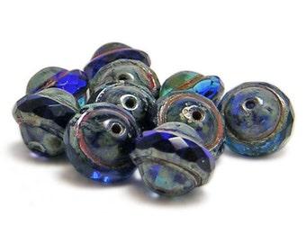 Czech Picasso Beads - Czech Beads - Saturn Beads - Czech Glass - Cobalt Blue - Saucer Beads - UFO - 10pcs (464)