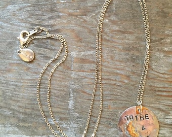 To The Moon and Back Rustic Silver Soldered & Hand Stamped Brass Necklace