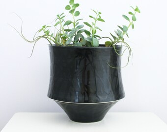 Large Black Porcelain Planter with Drain Hole and Catch Basin Pedestal - Modern Ceramic Planter in White - Cylindrical Pottery Planter