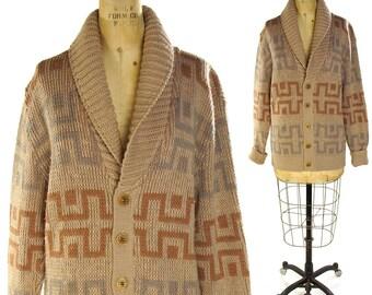 70s Pendleton Sweater / Vintage 1970s Soft Wool Cowichan Button Up Cardigan / Classic Rustic Hippie Boho Lebowski / Men or Women