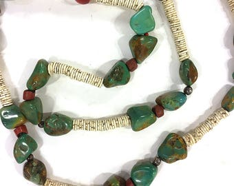 BIG Old Pawn Native American Necklace Vintage Beaded Raw Chunky Turquoise Sterling Silver Green Heart Pomo Heishi Trade Beads Santo Domingo