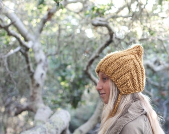 Pixie Hat for Adult Woman Hand Knit in Mustard Yellow Wool Blend Yarn