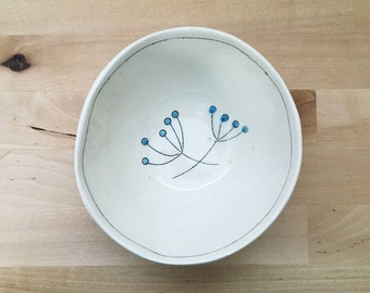 Small Handmade Ceramic Pottery Snack or Ice Cream Sized Bowl with Flowers