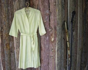 Vintage 60s Light Yellow Shirtwaist Dress Cotton Gano-Downs Label
