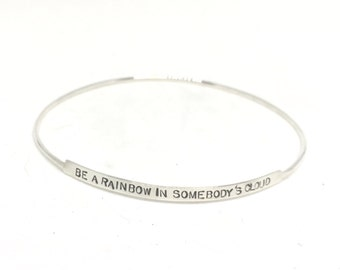 Silver Bangle Bracelet, Graduation gift, Custom Bangle Bracelet, grad gift, silver bangle, oh the places you'll go,  personalized bangle