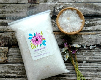 Lavender Bath Salts . Aromatherapy Essential Oil Sea Salt Soak . 12oz