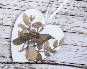 Wooden Victorian decoupage hanging heart. Black & white vintage bird in tree. Love gift.
