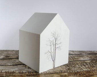 Little painted wooden house, white with black tree, monochrome modern home decor, 5th wedding anniversary gift, original desk art ornament.