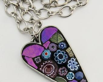 Mosaic Heart Pendant Necklace - violet dream.