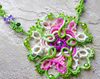 Lace necklace pink and green flower hand dyed beaded tatting with Swarovski crystal and glass beads