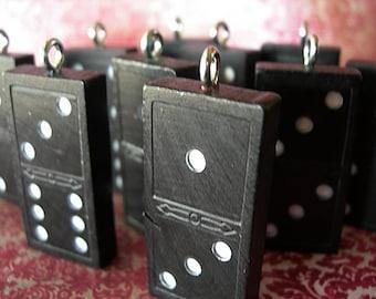 Vintage Dominoes Game Piece Wood Pendant Charm lot of 1 black