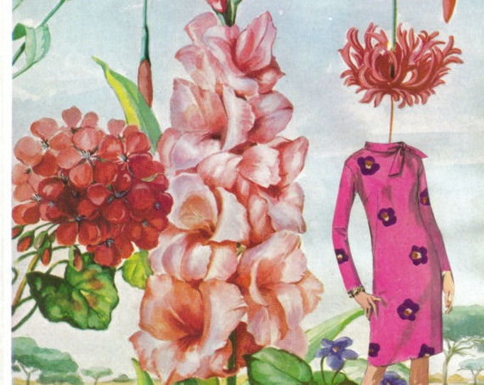Surreal Flower Garden Artwork, Surrealistic Floral Art Collage