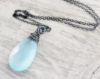 Sky Blue Pendant Necklace, Black Oxidized Necklace, Sterling Silver Necklace, Chalcedony Gemstone Necklace, Large Pendant Necklace