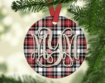 Custom plaid holiday ornament - personalized Christmas couple ornament - established date