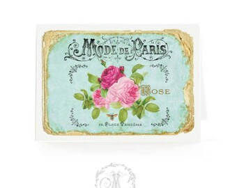 French vintage rose card, in blue and pink, blank inside
