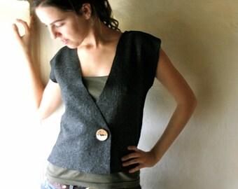 Felt vest, Wool vest, Womens vest, Sleeveless cardigan, Sweater vest, Wool cardigan, Womens top, Winter clothing, Handmade vest, Wool top