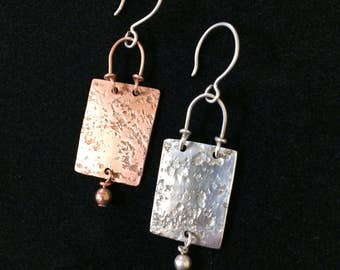 Mismatched Sterling Copper Earrings