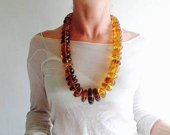 Huge Graduated Amber Bead Necklace. Chiapas Amber. Hand Hewn. Stunningly Gorgeous!