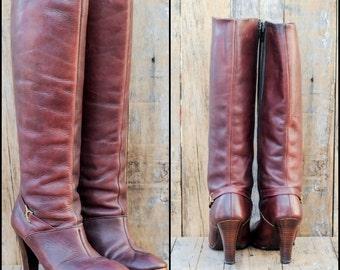 1970s vintage boots, Us 8 8 1/2 Uk 6 Eu 38,  leather knee high boots, tall leather boots, oxblood leather boots,