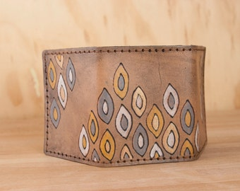 Leather Trifold Wallet - Mens or Womens Wallet with Modern Geometric Pattern in antique black - Third Anniversary Gift