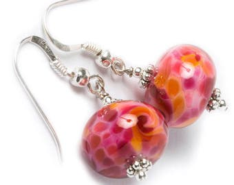 MONET lampwork glass beads, pink mosaïc