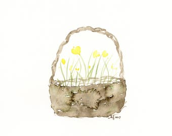 "Original watercolor flower painting: ""Basket of Buttercups"""