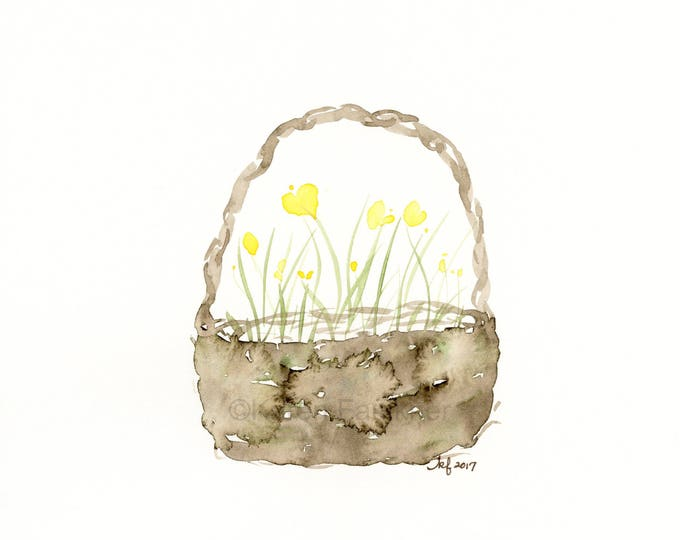 "Original watercolor flower painting: ""Basket of Buttercups"""