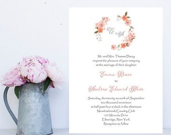 Floral Wedding Invitation - Floral Wedding Invitations - Wreath Wedding Invitations - Invitation - Traditional Wording Wedding Invitations
