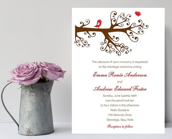 lovebird wedding invitation romantic wedding invitation, Wedding invitations