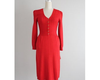 red wool dress | st john knit | st john dress