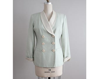 christian dior blazer | silk jacket | green houndstooth blazer