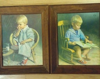 "Jim Ingwersen Vintage Children's Prints ""Gretchen"" and ""Gary"""