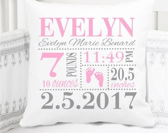 Girls Birth Announcement Pillow - Footprints - Nursery Pillow - New Baby Gift - Personalized