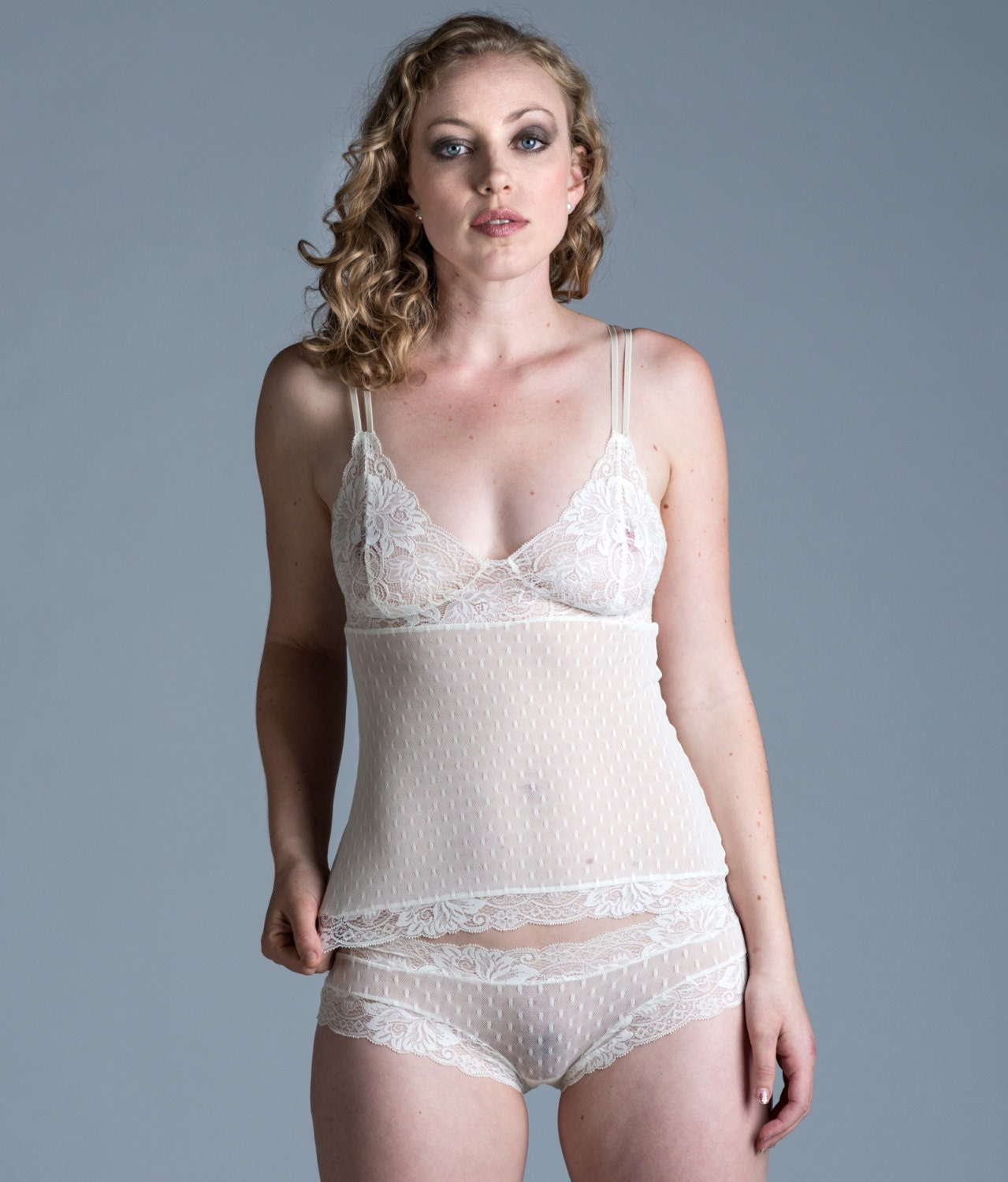 See Through Ivory Camisole Sheer Wedding Lingerie