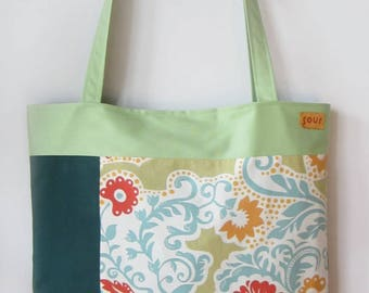 ON SALE Chasing Light // Mint Green, Forest Green, Floral, Golden Yellow, Orange Faux Suede and Teal Tote Bag
