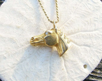 Antique Gold Diamond Horse Pendant Necklace, Old European Cut Diamond Eyes, Detailed, Equestrian, Substantial, on Long Chain