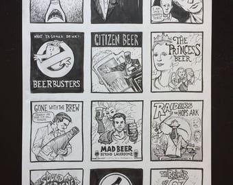 Beer in Cinema spoof art print original drawing