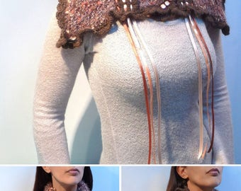 Knit Scarf Cowl Neckwarmer - Brow, Grey, Peach Wool and Mohair Yarn with Ribbons