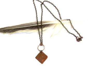 Copper Square on Brass Chain Necklace