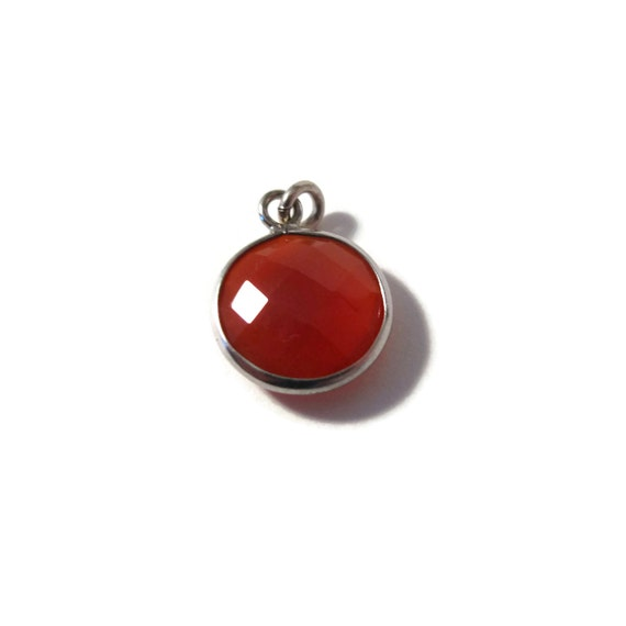 One Chalcedony Charm, Orange Gemstone Pendant with Silver Plated Bezel, Jewelry Supplies, Bridesmaid Jewelry (C-Ra2g)