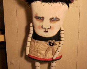 weird monster doll, sandy mastroni,odd doll,monster Elaine art doll, original doll, whimsical doll art