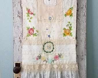 Blooming Meadow - Vintage Shabby Chic Hand Stitched Flower Garden Wedding, and Home Décor Tablecloth