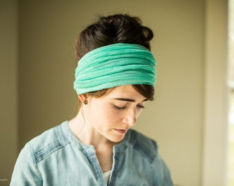 Aqua Breeze Cowl Headwrap - Garlands of Grace headband scarf convertible headcovering