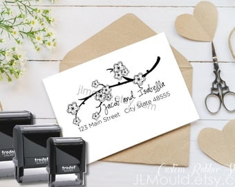 0024  Self Inking Handwriting Cherry Blossoms Calligraphy Script Custom Rubber Stamp Personalized Stationery Wedding Return Address