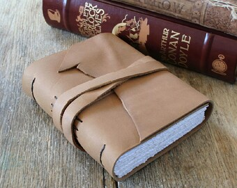 """Leather Journal . George Orwell quote """"Good writing is like a window pane"""" . handmade handbound . mink brown  (320pgs)"""
