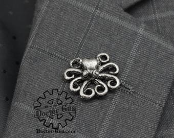 Octopus Pin - Tentacle Tie Tack - Cthulhu Inspired Cephalopod Men's Accessories by Doctor Gus - Octopus Lapel Pin Squid Tentacle Scatter Pin