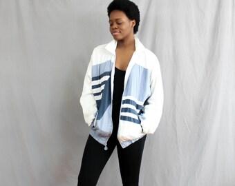 90's Windbreaker in Blue and Grey, XL plus size parachute jacket . men's women's . retro . white stripe windbreaker